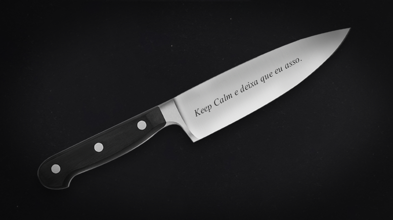 "Faca personalizada ""Keep Calm e deixa que eu asso"""