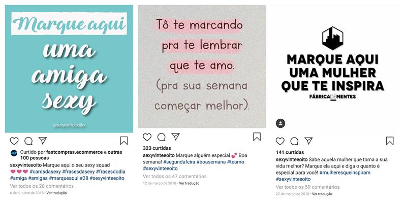 Campanha no Instagram da Sexy Vinte e Oito para buscar seguidoras.