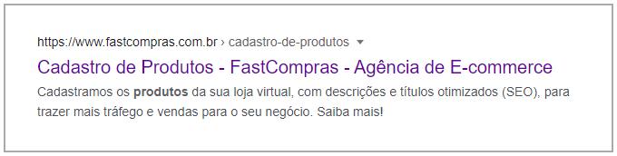 Exemplo da tag description otimizada sendo exibida no resultado de busca do Google.